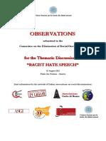 Information Paper on Racist Hate Speech Italian Network on Racial Discrimination
