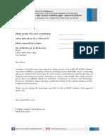 Communication Letter for Medals