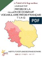 Louis QUEYRAT. Le patois de la région de Chavanat. Vocabulaire patois-français. t.1 (A-G)