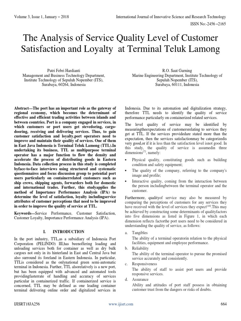 The analysis of service quality level of customer satisfaction and the analysis of service quality level of customer satisfaction and loyalty at terminal teluk lamong customer satisfaction brand ccuart Gallery