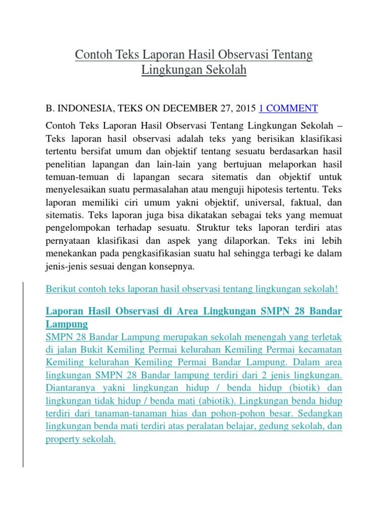 Contoh Teks Laporan Hasil Observasi Tentang Lingkungan Sekolah Dalam Bahasa Jawa Berbagai Teks Penting