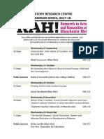 HRC Seminar Series Programme 2017-18