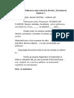 Model de Scrisoare de Intenție