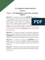 Estatuto de Lancaroya 1er Estatuto Aprobado de La Union
