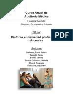 Disfonía, Enfermedad Profesional en Docentes Mariela Bustos y Col