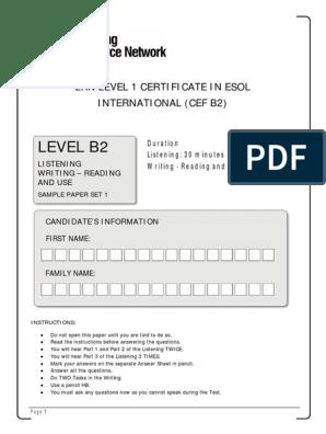 Lrn Level 1 Certificate in Esol International Cef b2