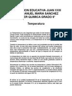TALLER QUIMICA 1 temperatura GRADO 6°