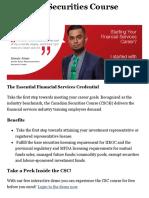 Canadian Securities Course (CSC) - Canadian Securities Institute
