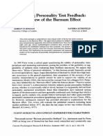 Accepting Personality Test Feedback; A Review of the Barnum Effect