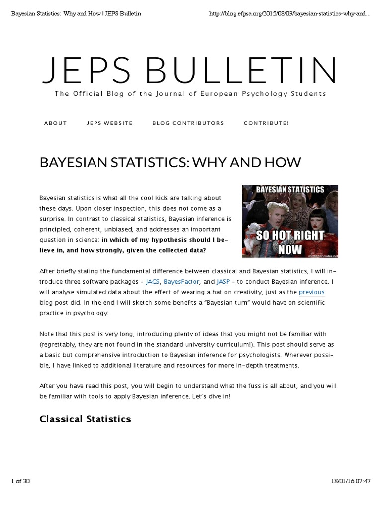 Jeps Bulletin: Bayesian Statistics: Why And How