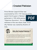 Why We Created Pakistan