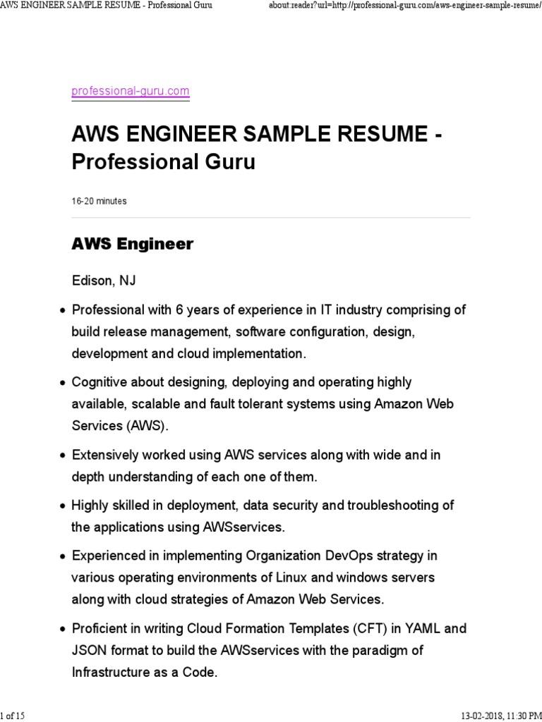Aws Engineer Sample Resume Professional Guru Amazon Web Services