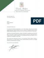 Carta de condolencias del presidente Danilo Medina a Helen viuda Acra