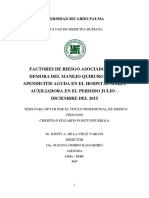 Factores de riesgo asociados a la demora del manejo quirúrgico de apendicitis aguda en el hospital María Auxiliadora en el periodo julio - diciembre 2015
