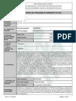 ESTRUCTURA 331120 Infome Programa de Formación Titulada