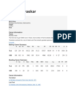 Sunil Gavaskar Statistics