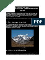 7 Picos Más Altos de La Cordillera de Los Andes