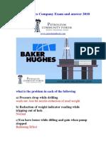 Baker Hughes Company Exam and Answer 2018