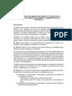 Analisis Del Reglamento de Grados y Titulos de La Facultad de Ciencias Economicas