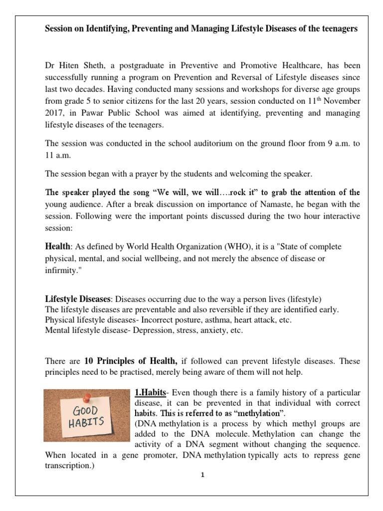 report- dr hiten -lifestyle diseases | Sleep | Science