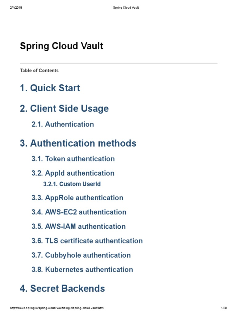 Spring Cloud Vault | Transport Layer Security | Authentication