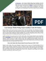 Luis Enrique Dinilai Paling Tepat Gantikan Conte Di Chelsea