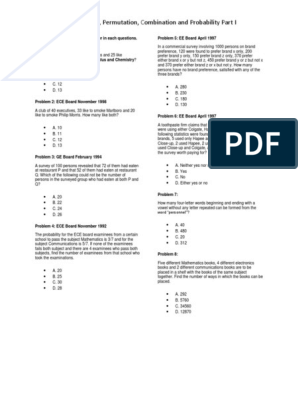 Mcqs In Venn Diagram Permutation Combination And Probability Part I Probability Multiple Choice