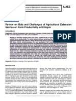 Review on Role and Challenges of Agricultural Extension Service on Farm Productivity in Ethiopia