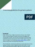 Prescribing Guidelines for Geriatric Patients