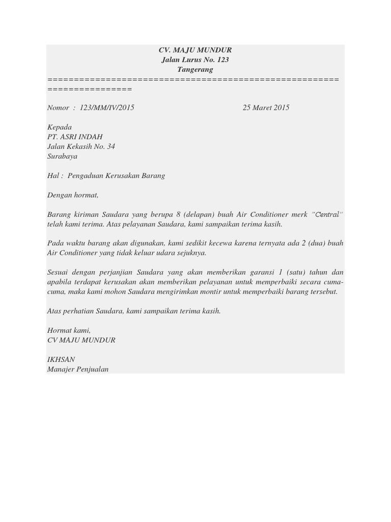 Surat Tuntutan Barang Rusak