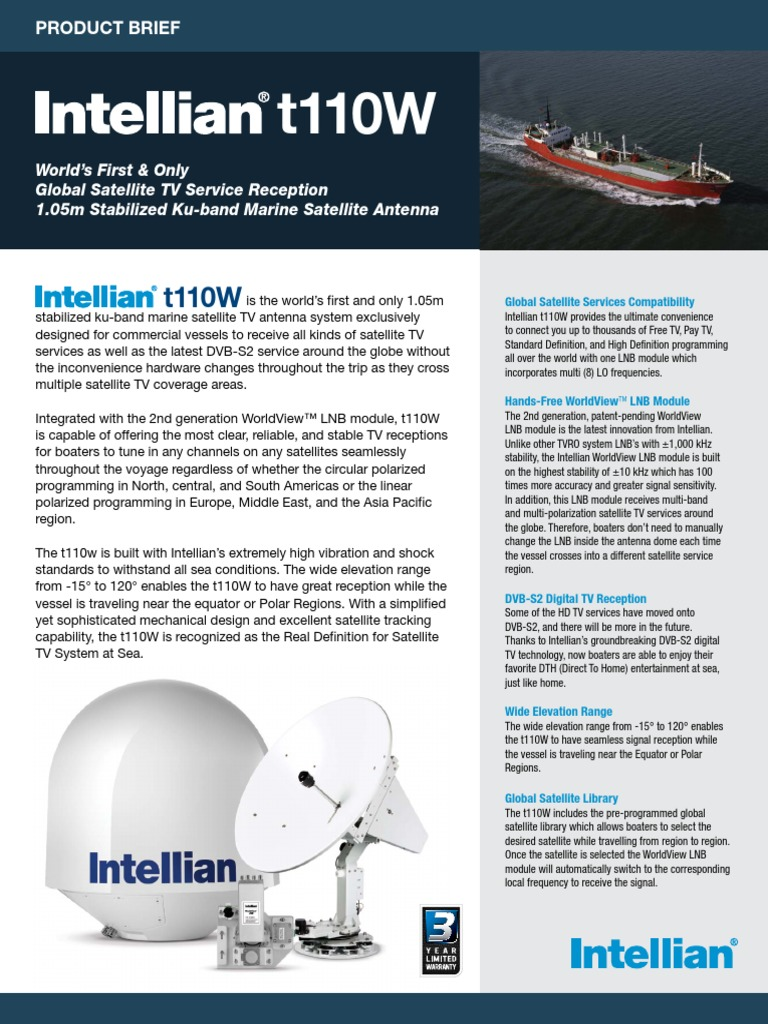 Intellian t110W Brochure   Satellite Television   Television