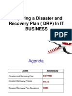 Preparing a Disaster and Recovery Plan ( DRP) in IT BUSINESS