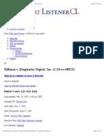 Andrew J. Hillman VS Rungleader, Andrew J. Hillman Hillman, Andrew J. Hillman Dallas, Docket for Hillman v. Ringleader Digital, Inc. – CourtListener.com
