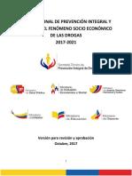 Plan Nacional de Prevención Integral y Control de Drogas (2017 - 2021)VRO