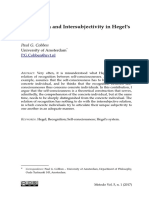 Recognition and Intersubjectivity in Hegel's