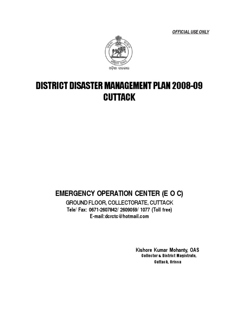 DDMP 2008-09 CUTTAK   Emergency Management   Disaster And Accident