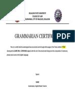 Grammarian Certificate