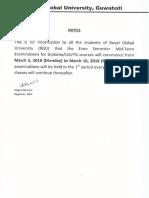 Notice for Exam Astu