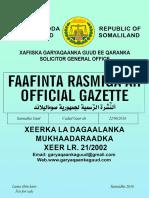 Xeerka Ladagaalanka Mukhaadaraadka Xeer No 212002