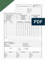 Insulation Resistance Test Form
