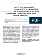 In Vitro and in Vivo Assessment of Theantitrypanosomal Activity of Methanol Leaf Extract of Annona Muricata(Meam) on the Blood Parameters of Trypanasoma Brucei Brucei Infected Albino Rats.