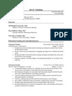 elementary teaching resume for sara cummings