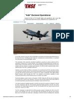 Israel's F-35I _Adir_ Declared Operational _ Israel Defense