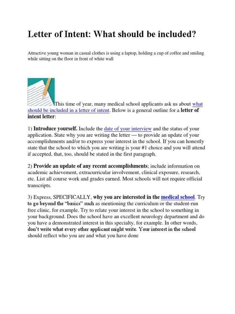 Med School Update Letter.Letter Of Intent Docx