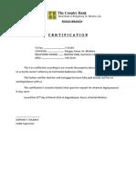 Certification (No Balance)