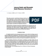 Correlation between Static and Dynamic Response of Model Masonry Structures