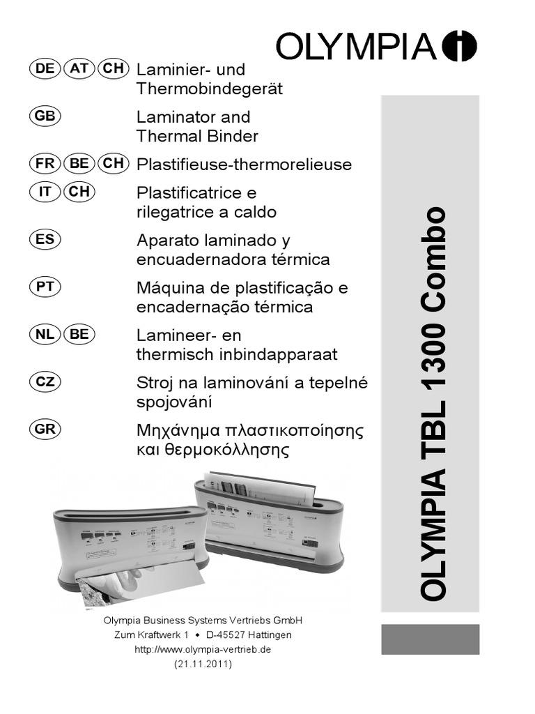 c2f400d9004 Olympia TBL 1300 Binding Machine