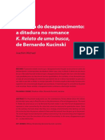 """Memoria do Desaparecimento. A ditadura no romance """"K. Relato de uma busca"""" de B. Kucisnsky por Joachim Michael"""