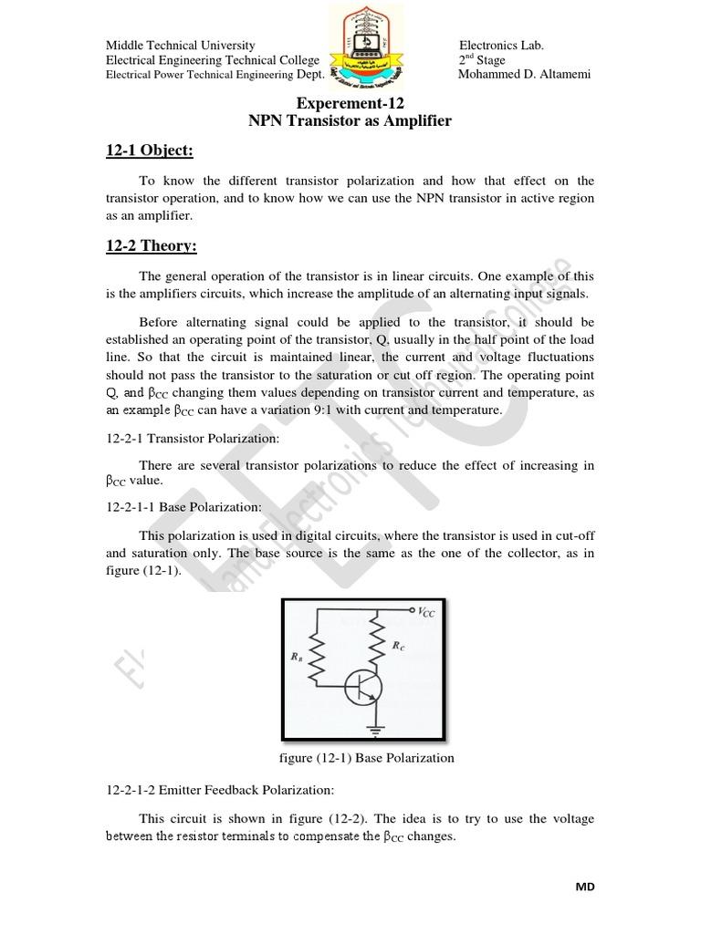 Exp12 Npn Transistor As An Amplifier Bipolar Junction Circuits