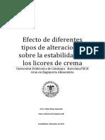 Alteraciones Sobre La Estabilidad de Los Licores de Crema